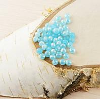 Бусина рондель стекло голубая 1 (10шт) 4мм