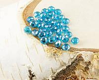 Бусина рондель стекло голубая 2 (10шт) 4мм