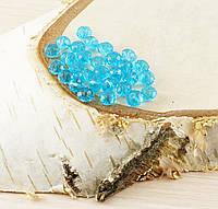 Бусина рондель стекло голубая 3 (10шт) 4мм