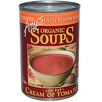SALE, Amy's, Органический обезжиренный томатный крем-суп, с низким содержанием натрия, 14,5 унций (411 г)