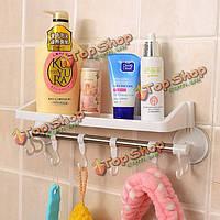 Всякая всячина стеллажа пластмассы ванной выдерживает угловую полку с крюками и сосунками