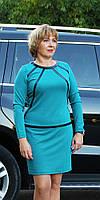 Платье женское  полубатал с кожаными вставками морская волна