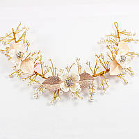 Диадема свадебная Золотые цветы