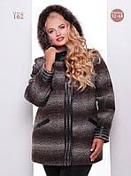 Женское стильное пальто на молнии со вставками (Большие размеры)