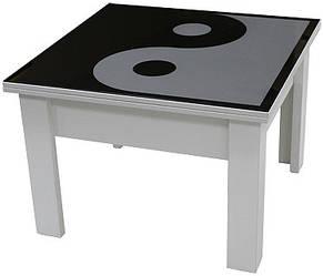 Стол журнальный + обеденный Матролюкс со столешницей зеркало с изображением пескоструй