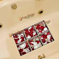 PAG 6шт 13x13см красный и белый узор roseleaf 3D анти скольжения водонепроницаемый ванной наклейки