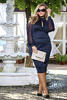 Платье Парфюм синее с рукавами сетка и вырезом на груди большого размера 48-72 батал
