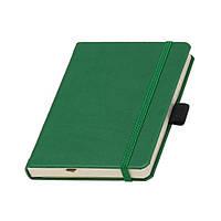 Записна книжка Туксон А6 зелена обкладинка, кремовий внутрішній блок під тиснення логотипу на обкладинці, фото 1