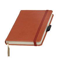 Записная книжка Туксон А6 оранжевая обложка, кремовый внутренний блок под тиснение логотипа на обложке, фото 1