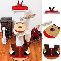 Рождественское сиденье для унитаза северного оленя покрывает счастливую компанию коврика художественных оформлений ночного горшка Сант