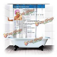 180см смешные социальной facebook sns ванной водонепроницаемая ткань занавеса ливня