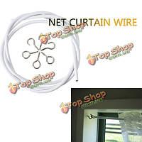 1м белое окно чистая караван занавес провода весной шнур кабель комплект с крючками и глазами
