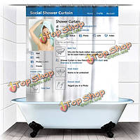 180x180см смешная социальная facebook занавеска ванной водонепроницаемой ткани с 12 крючками