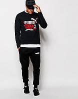 Стильный спортивный костюм трикотажный Puma черный