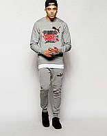 Стильный спортивный костюм трикотажный Puma серый