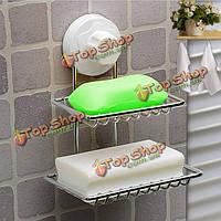 Двухпалубный поднос душа ванной держателя мыльницы с чашкой всасывания