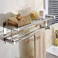 Нержавеющая сталь двойная стена вешалки для полотенец слоя установила держателя одежды стойки полки для хранения ванной