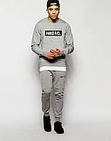 Стильный спортивный костюм трикотажный Nike F.C серый