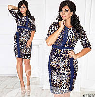 Платье облегающее леопардового принта, декорировано кружевом