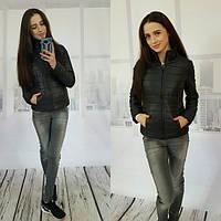 Легкая женская стеганная курточка плащевка на молнии, цвет черный
