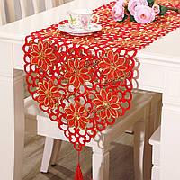 Красный цветок старинные стол флаг бегуна скатерть с декором кисточкой домой свадебного банкета