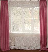 Комплект розовых штор и тюль завитки, фото 1