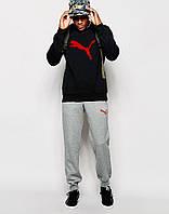 Мужской Спортивный костюм Puma чёрно-серый