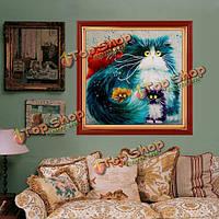40xКомплект крестик 40см 5D DIY красочная кошка алмазов картина украшение дома полный горный хрусталь животное
