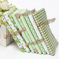 Зеленая серия 9 разных печатных хлопок стежка ткани набор