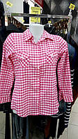 Рубашка в клетку дл/короткий рукав с манжетом розовая 38. 40