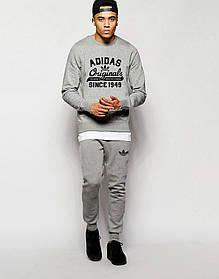 Мужской Спортивный костюм Adidas Originals серый (черный принт)