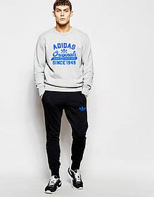 Мужской Спортивный костюм Adidas Originals серо-чёрный