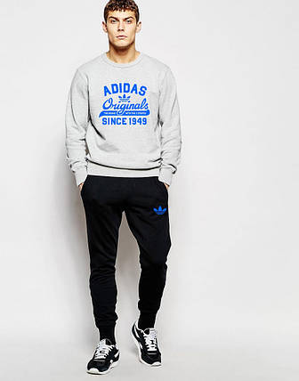 Мужской Спортивный костюм Adidas Originals серо-чёрный, фото 2