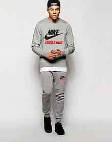 Мужской Спортивный костюм Nike Track&Field серый (большой принт)