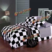3 или 4шт волокна полиэфира черный белый плед реактивной печати постельные принадлежности наборы