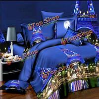 4шт костюм 3D Париж ночная сцена окраска полиэстер реактивной волокна постельных принадлежностей королева кровать
