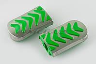 """Резинки подножек водителя   для мопеда Delta   (зеленые с хромированной вставкой mod:3)   """"XJB"""""""
