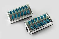 """Резинки подножек водителя   для мопеда Delta   (синие с хромированной вставкой mod:1)   """"XJB"""""""
