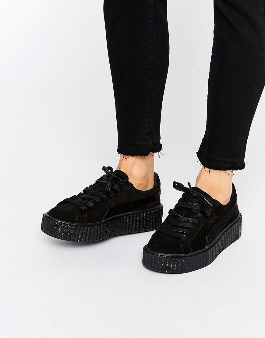 Кроссовки женские замшевые черные Puma Rihanna Creeper all black