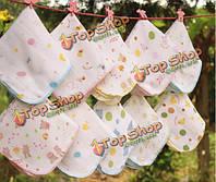 10шт хлопка Муслин детские марлевые мочалкой кормления вытирайте пот полотенцем