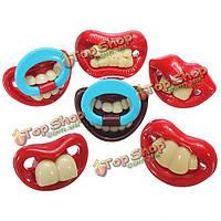 Милые детские смешные gagtooth губы пустышки пустышка прорезыватель соска