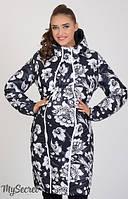 Зимнее пальто для беременных и после Kristin с белыми цветами-С