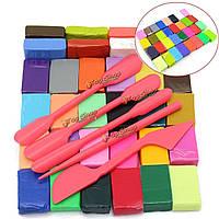 Полимерная глина разноцветная набор с инструментами