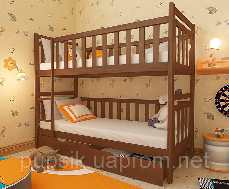 """Кровать двухъярусная трансформер """"Александр"""" Woodland натуральное дерево"""