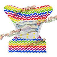 Ребенок оснастки ткань пеленки стирать многоразовые крышки двойные ряды мочи площадку упругой утечки воздуха регулируется подгузник