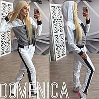 Женский стильный спортивный костюм на молнии со вставками : мастерка,штаны + (Большие размеры)