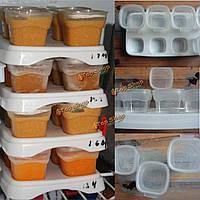 8x70мл ребенок отъема пищевых кубиков замораживания кормления горшки хранения лоток каша рисовая BPA бесплатные контейнеры окно