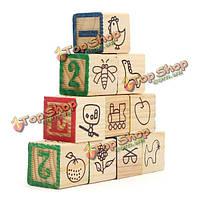 10X попугай DIY непористой письмо & число деревянных блоков игрушки