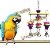 Красочная игрушка птица попугай висит деревянные качели колокола попугайчик Волнистый попугайчик жевать игрушки