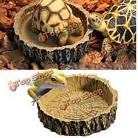 Круглые имитация коры рептилии черепахи вода блюдо кормушке амфибии кормления блюдо